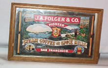 J. A. Folger Co. Framed Advertising Mirror