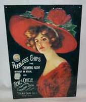 Peerless Chips & Tickle-Chickle Chewing Gum Metal Sign, Repro