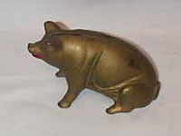 Vintage bronze metal Pig Bank