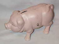 Metal Pink Piggy Bank with a smile