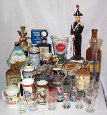 Liquor Decanters, Beer Steins and Glasses