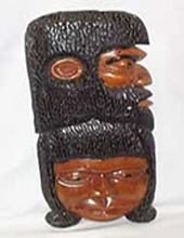 African Heads Carved Wooden Plaque