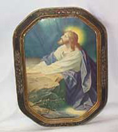 Jesus Praying Picture, Antique Framed Curved Glass