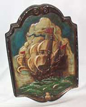 Chalkware Plaque of sailing ship