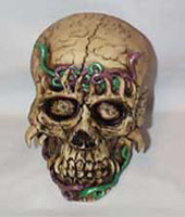 Skull with Green & Red Snakes in eye sockets, Scary!