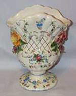 Italian Vase with blue and pink Flowers