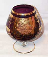 Brandy Snifter Vase, Large Amethest and Gold