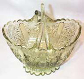 Fenton Light Green Daiisy Bowl with Two Handles