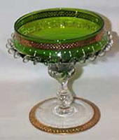 Beautiful Pedestal Glass Bowl, Green and Gold rim Top
