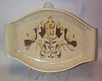 Red Wing Tan Flowered Relish Dish