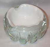 Murano White and clear Scalloped Bowl