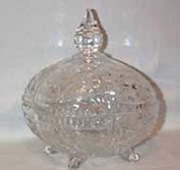 Cut Glass Covered Candy Dish, four feet