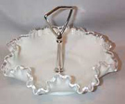 Silver Crest Ruffled Bowl with Silver Handle