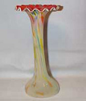 Murano Tall Orange and Yellow Swirl Vase