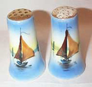 Blue Sailboat Salt and Peppers, Made in Japan