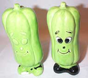 Smiling Green Cucumber Salt & Pepper Shakers