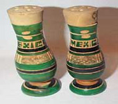 Green and Tan Wood Vases, Mexico Souvenir Salt & Peppers