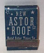 Hotel Astor Times Square Matchbook