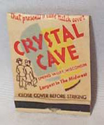 Crystal Cave, Spring Valley,Wi sc  Matchbook