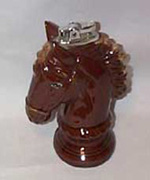 Horse Head Lighter, brown ceramic