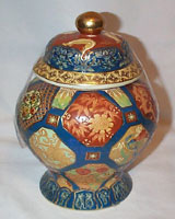 Gorgeous Oriental Covered Jar with Cloisssone Look