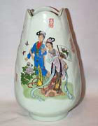 Pale Green Oriental Jar with scalloped top